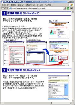 図2  「楽天市場」のシステム紹介ページ