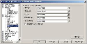 図6  オプション設定の「文書ドキュメント」内の「既定のフォント(アジア諸国語)」