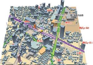 図2 図1と同じ場所を「ブロックモード」3D