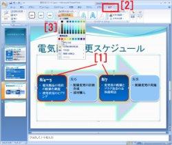 図表7 このスライドには「矢印と長方形のプロセス」のSmartArtを適用。その後、一部分を変更しているところ。[1]変更したい部分を選択し、[2]「書式」タブから、[3]変更したい内容を選択する。これ以外に「光彩」効果などを、部分的にすでに適用している。