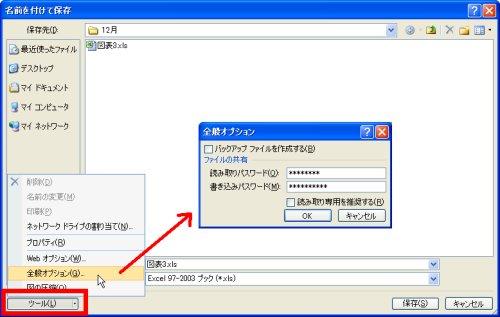 図表6 Office2007文書にパスワードを付ける方法