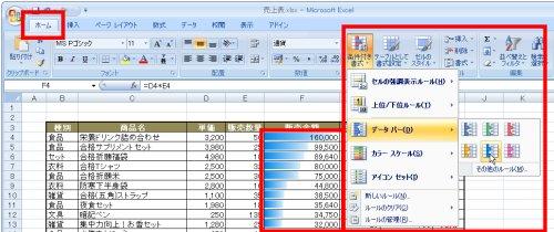図表2 「販売金額」欄に「データバー」を適用しようとしているところ。適用前に確認できる「リアルタイムプレビュー」機能により色などを確認しながら作業できる。データバーを適用するセル幅は広めにしておくのがポイント。