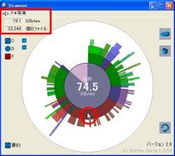図表8 「Scanner」でディスクを表示。グラフ内にカーソルを当てると、左上にそのフォルダの内容が表示される。これにより、一番容量を占めていたのは「写真」フォルダで、何と3万3千以上のファイルがあることがわかった。