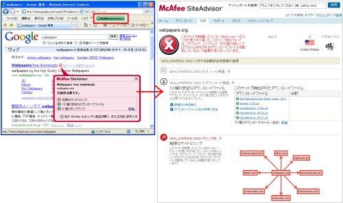 図表9 ブラウザInternet Explorerのプラグインとして「SiteAdvisor」を入れると、そのページの安全性を教えてくれる(左図の上の赤い囲み)と共に、検索結果のサイトに対してもアイコンがつき、詳細情報もクリックだけで見られる。赤い×のアイコンは危険サイトの印。